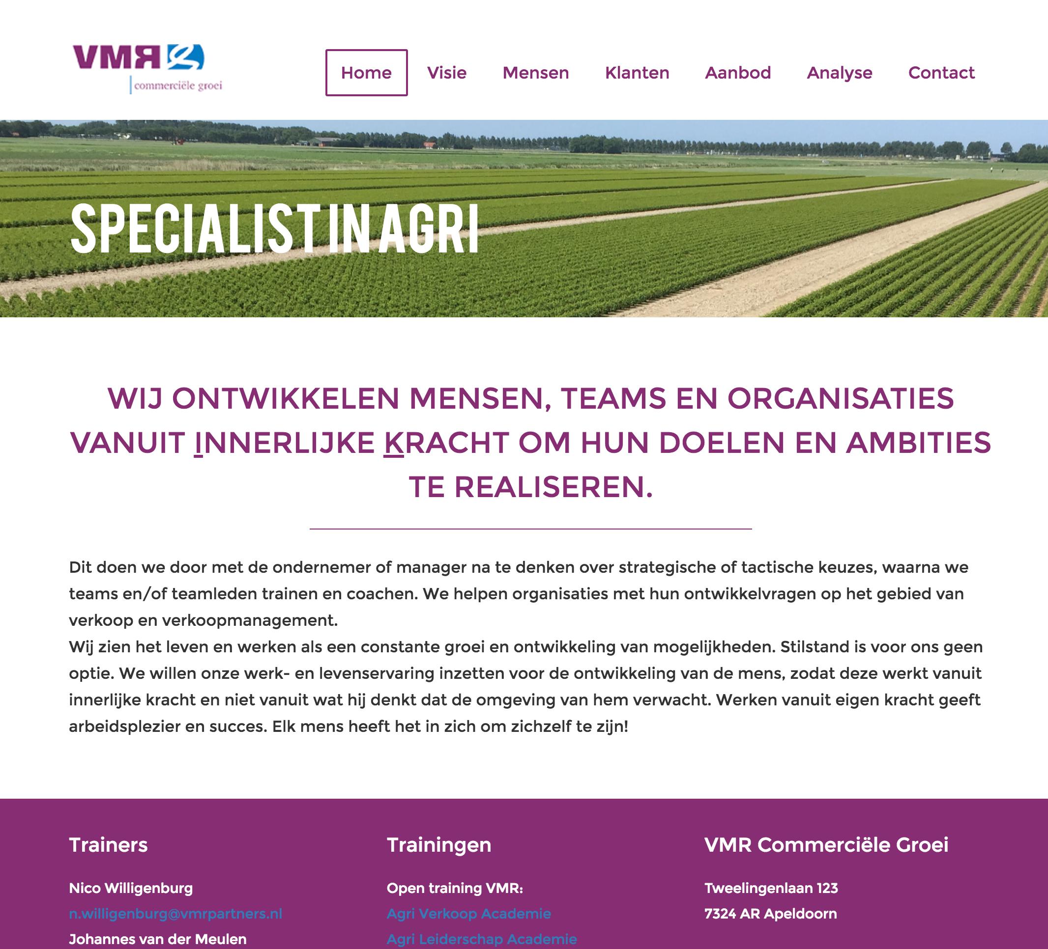 Website VMR Commerciële Groei